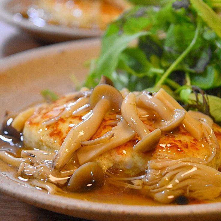 きのこあんかけ豆腐ハンバーグ  |  あさこ食堂