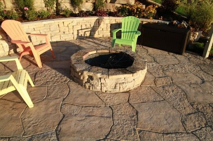 Grand Flagstone, Round Firepit Kit, Bevedere Wall, and fun to hang around!