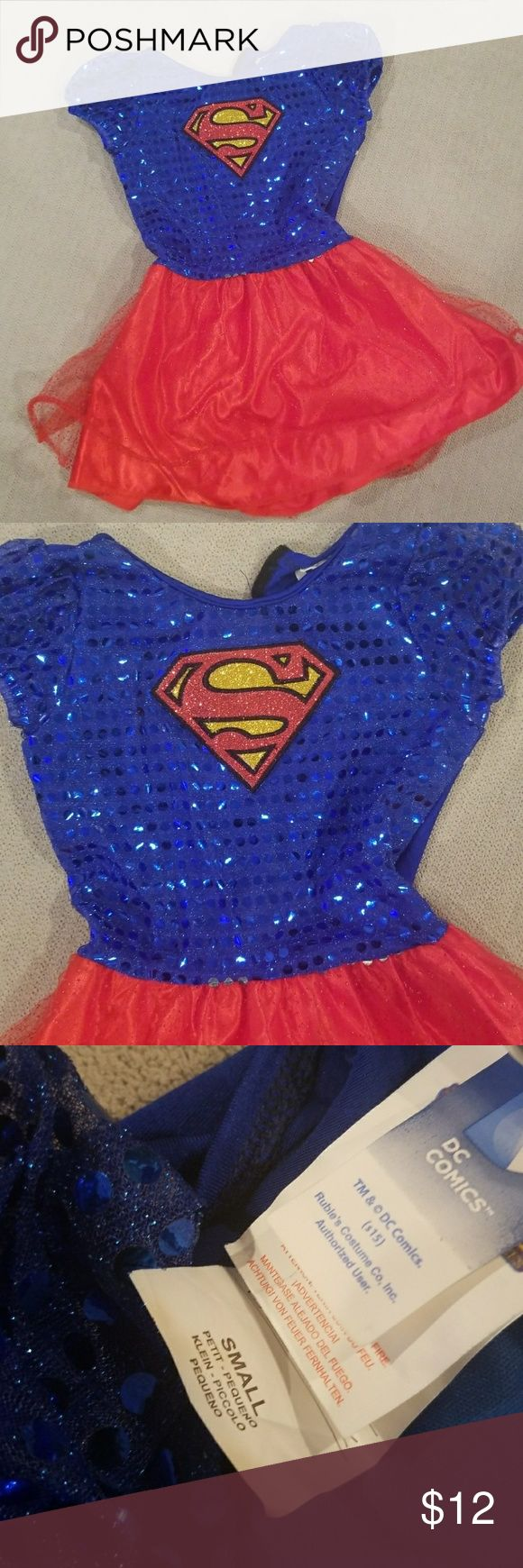 Toddler Supergirl dress Toddler girl Supergirl dress. Sparkle top with toole bottom. Size small- 4/5. DC Costumes Superhero