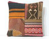 couch throw pillow 16x16 turkish rug pillow kilim pillow bohemian pillow cover DECOLIC designer cushion 40x40 turkish pillow patchwork 16027