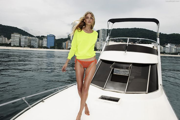Boating fashion orange yellow neon bikini fashion photography