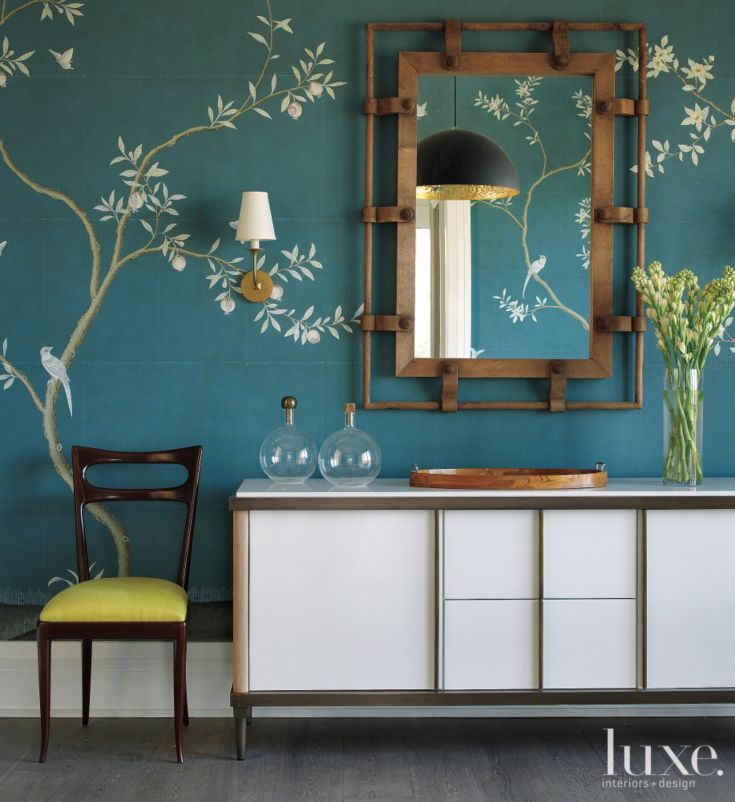 Contemporary Blue Dining Room Detail with Montresor Buffet
