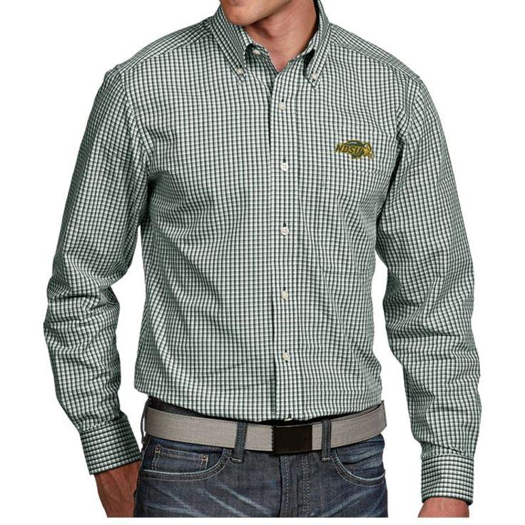 Antigua Men's North Dakota State Bison Green Associate Button Down Long Sleeve Shirt, Team