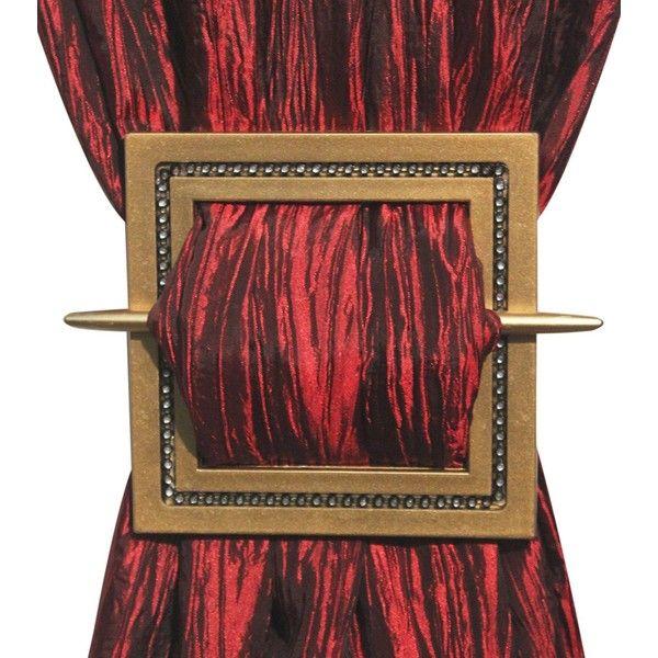 Decorative Curtain Holdbacks Set of 2, Curtain Tiebacks, Shining... ($6.29) ❤ liked on Polyvore featuring home, home decor, window treatments, curtain rods, gold home accessories, silver curtain rods, gold home decor, black tie backs and black curtain tie backs
