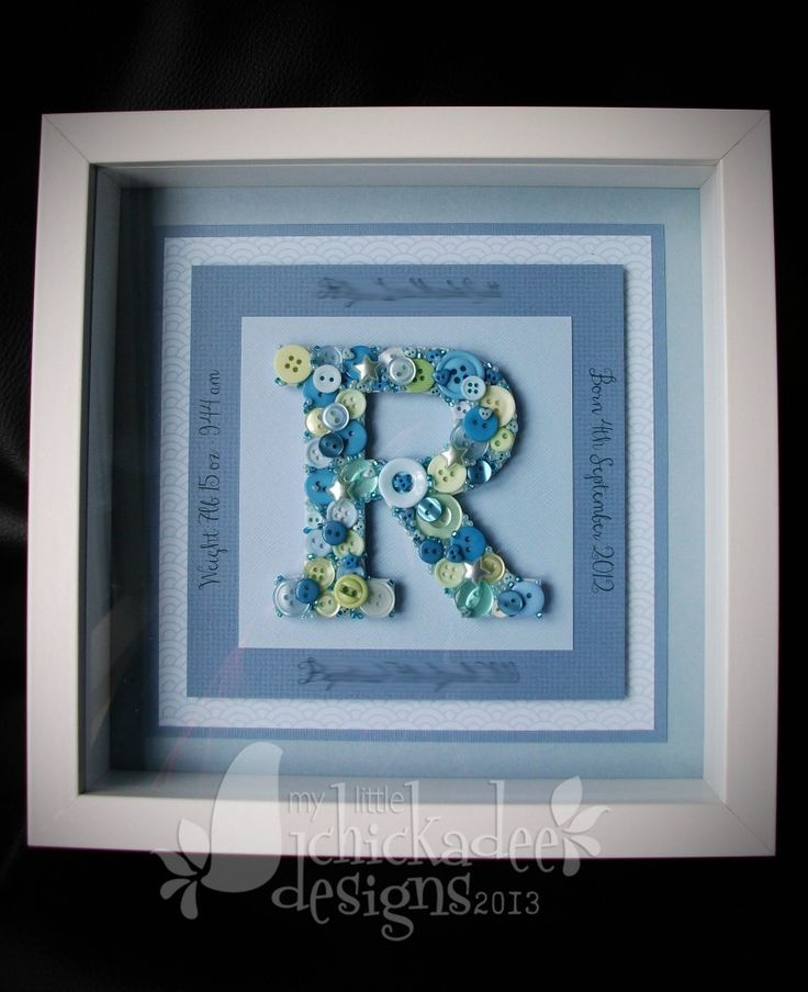 Button Monogram in a Box Frame - The Supermums Craft Fair