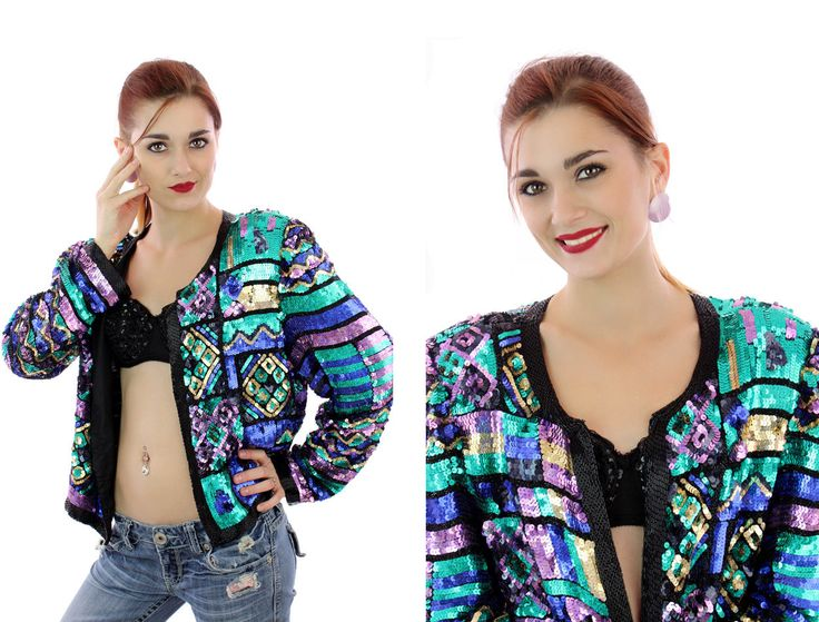 80s Sequin Jacket Formal Party Coat Cocktail Trophy Deco Beaded Event Sweater Blazer Bedazzeled Glam Sequins Metallic Beaded Large L by neonthreadsdesigns on Etsy
