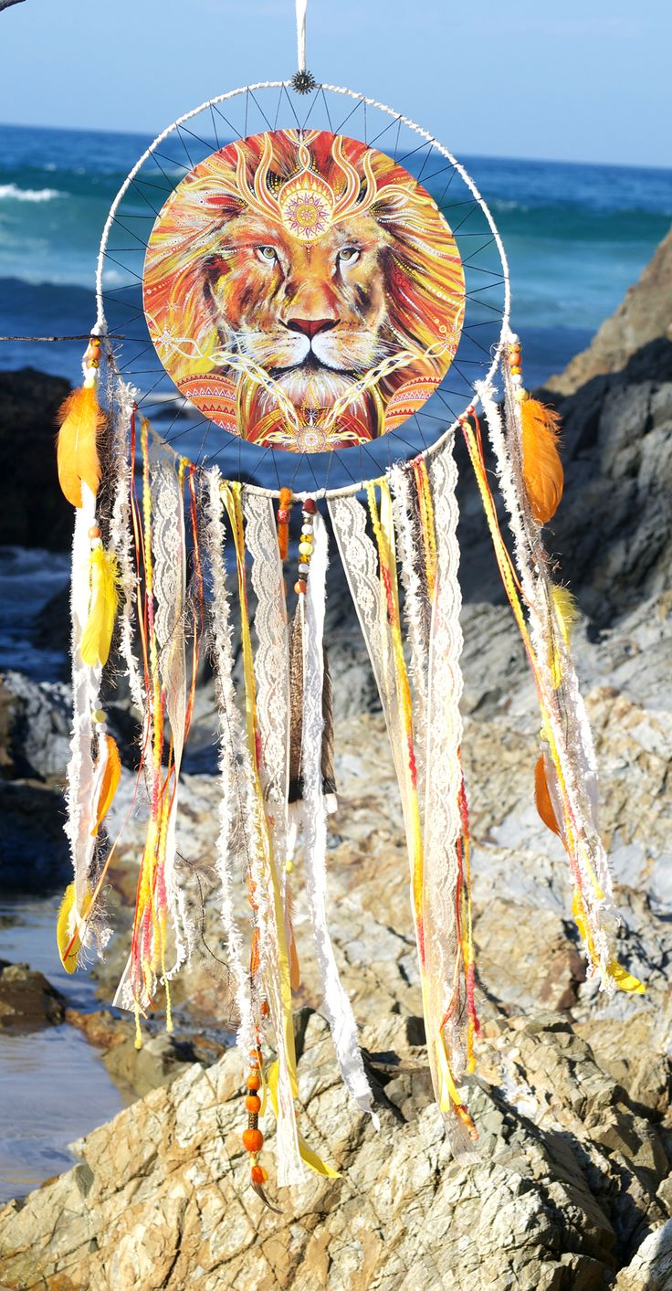 Lions Heart, Spirit Art Mandala, Lions Dreamcatcher, By Heavenly Earth Art