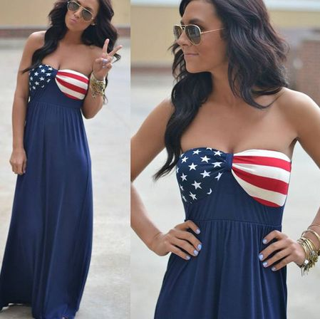 HOT FLAG STRAPLESS DRESS