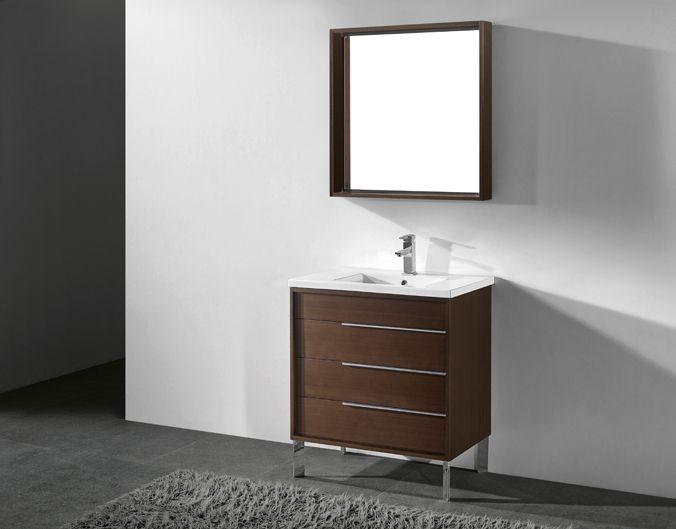 Milano 30 Inch Modern Walnut Bathroom Vanities Free Standing All Wood Vanity