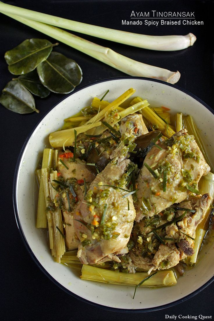 manado spicy braised chicken (indonesian; w/ lemongrass, kaffir lime leaves, fresh turmeric)