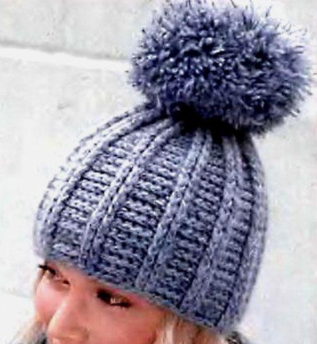 Теплая шапка с помпоном. Схема вязания крючком, описание