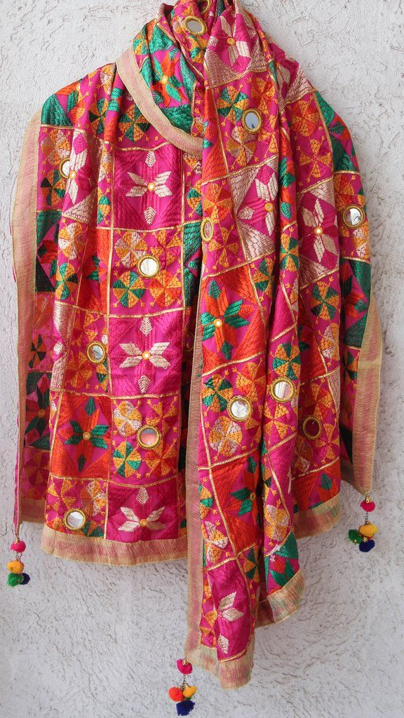 Bagh Intricate Magenta and MultiColored Phulkari Embroidery with Mirrorwork Dupatta