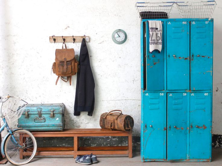 The functional utility and bright visual appeal of this metal 3x2 compartmentalised blue lockers cabinet are impressive. The surface finish is a wonderful distressed blue and reflects its previous life as changing room lockers in an airbase. #vintage #furniture #sale #vintagefurniture