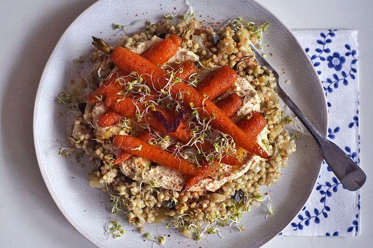 Pohanka s humusem a pečenou mrkví   Veganotic
