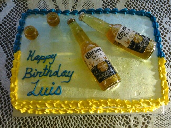 Two tone Corona birthday cake with glasses that have jelatine inside to look like the beer.