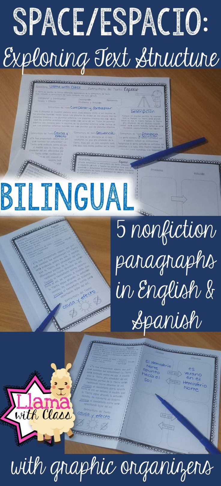 Perfect for the bilingual or dual language classroom, grades 3-5. Explore text structure by looking at 5 nonfiction paragraphs written in different text structures all about space.