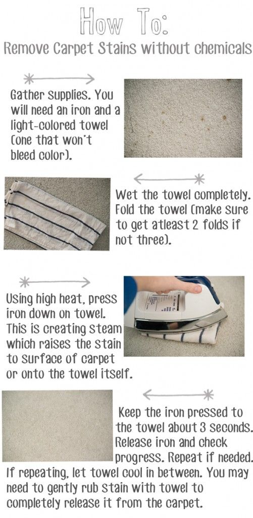 how to use an iron to remove carpet stains