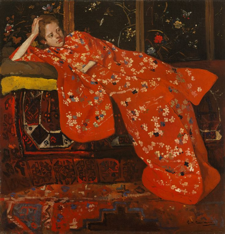 George Hendrik Breitner, Anna (Girl in a Red Kimono), 1894. Oil on canvas, 58 x 57 cm Private collection