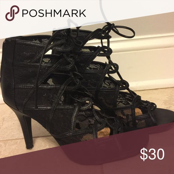 Black Lace-up Heels Lauren Conrad Lace-Up Black Heels LC Lauren Conrad Shoes Heels