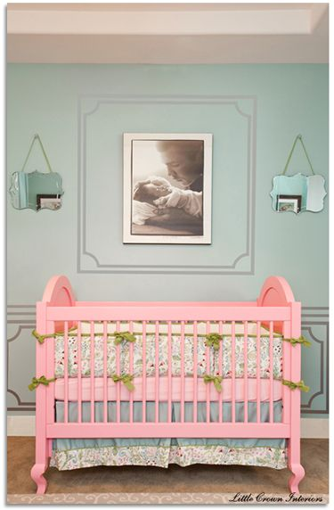 Carousel Designs custom Love Bird Damask crib bedding, as seen in Laila Ali's nursery! Nursery interior design by the talented team from Little Crown Interiors.