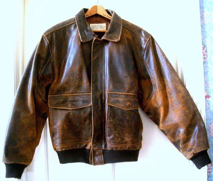 VTG. Men's SPETTRO Distressed Brown Leather Motorcycle Flight Bomber Jacket Sz.L #Spettro #FlightBomber
