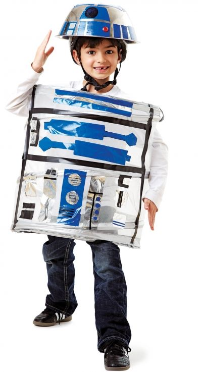 How to make an R2D2 out of a laundry hamper and duct tape.