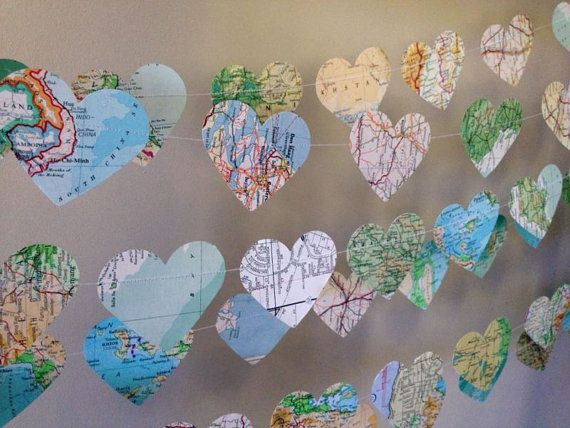10ft Vintage Atlas Heart Garland  home decor by 10PaperLane, $19.90