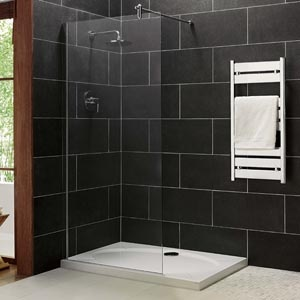 Glass panel shower with non-tile floor