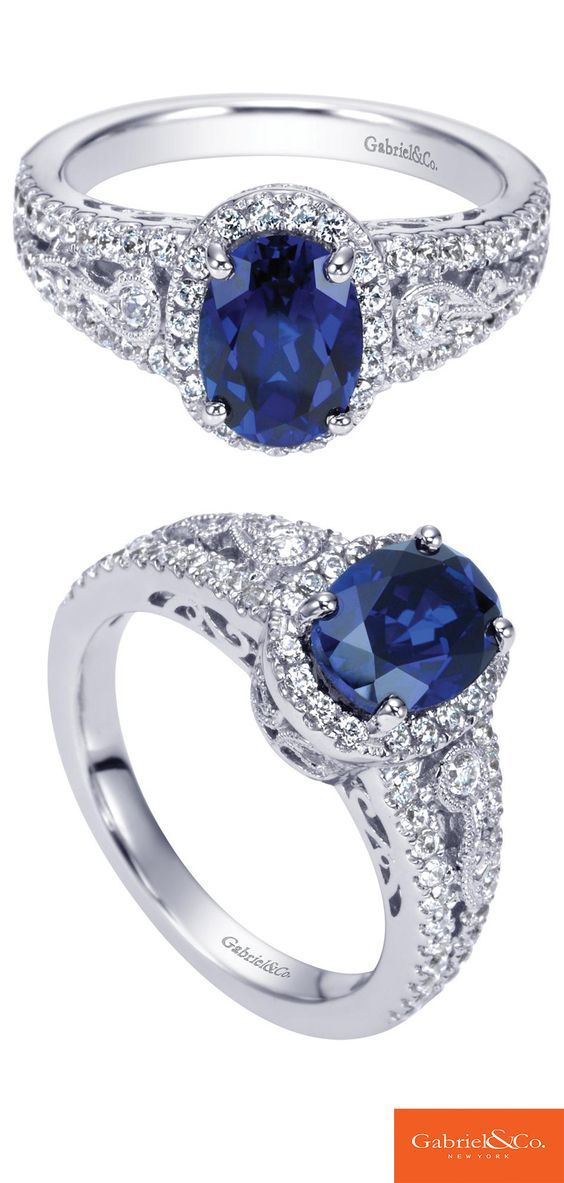 A beautiful 14k White Gold Diamond and Sapphire Ring from Gabriel