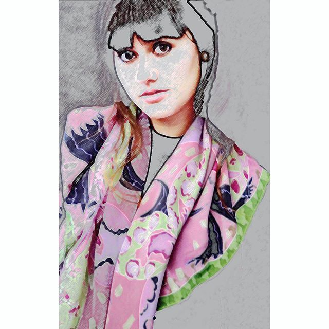 Sketchy with #silkscarf #crepedechine #onlyone #handpainted #patient #model #workinghard #fashionshoot for #AgnesAshe