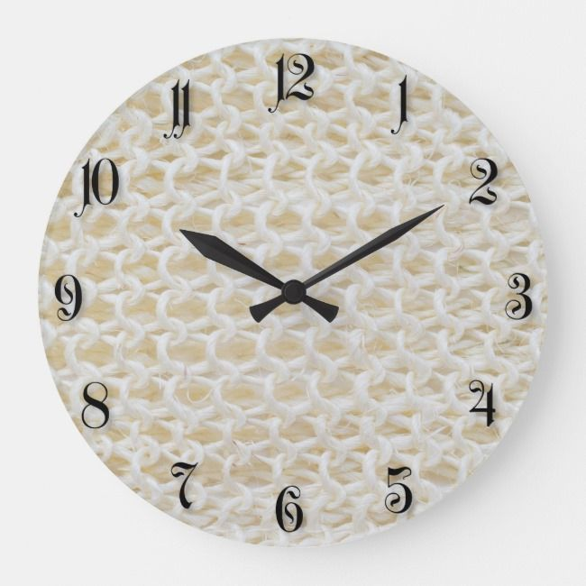 Natural woven pattern large clock | Zazzle.com
