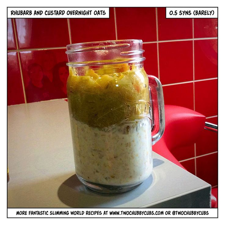 This pairing of rhubarb and custard with overnight oats tastes amazing, but is barely half a syn. Easy to make! Up to you whether you syn half a syn! Remember, at www.twochubbycubs.com we post a new Slimming World recipe nearly every day. Our aim is good food, low in syns and served with enough laughs to make this dieting business worthwhile. Please share our recipes far and wide! We've also got a facebook group at www.facebook.com/twochubbycubs - enjoy!
