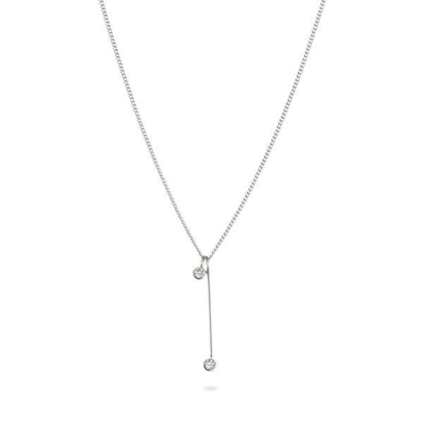 Sterling Silver Necklace with Two Cubic Zirconias