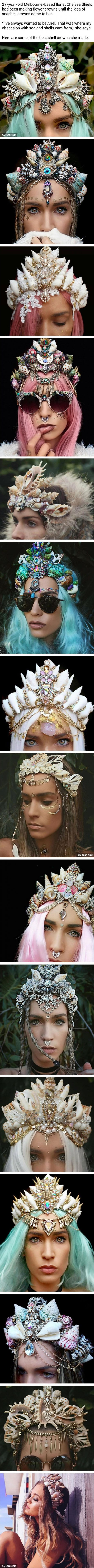 This girl makes mermaid crowns with shells, and they're just beautiful