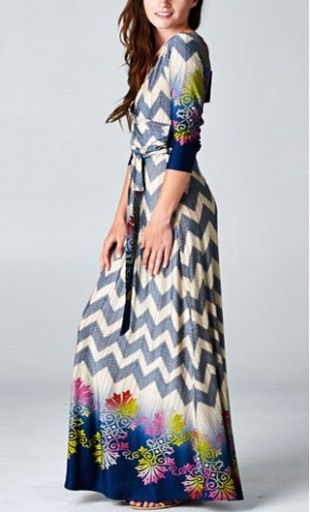 Women's 3/4 sleeved wrap maxi dress with surplice neckline and self belt in colorful chevron and floral print. Great for any casual or formal events! Available in S to L #chevron #multiprint