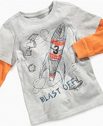 Greendog Kids T-Shirt, Little Boys Blast Off Rocket Layered Tee - Kids Boys 2-7 - Macy's