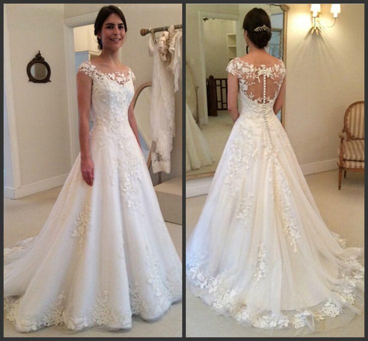 a line wedding dress illusion neckline - Google Search