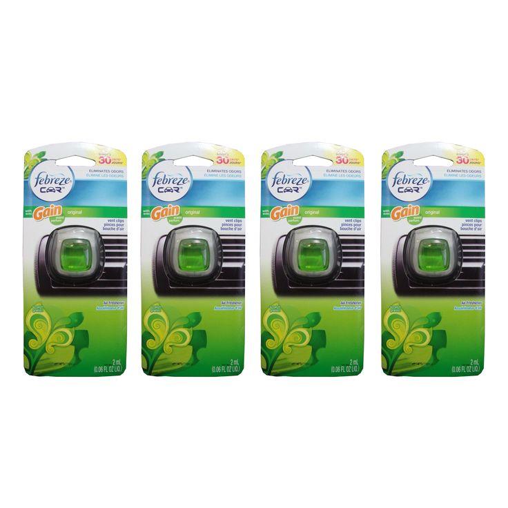 Febreze Car Air Freshener Vent Clips Original Gain Scent, 4 Pack
