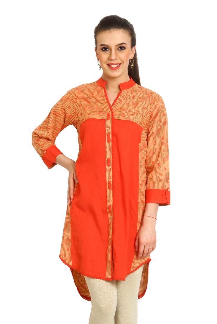 Superb Stylish Look Orange Color #Designer #Kurti
