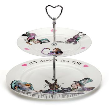Mrs Moore Vintage Store Mad Hatter Two Tier Cake Stand: A cake stand showing the Mad Hatters Tea Party. Two tier cake stand made from fine bone china and decorated with the maddest Alice In Wonderland character of them all. A fun and rather appropriate stand for serving up delicious treats at your own tea party.  Designed by Mrs Moore Vintage Store and made in the UK; this cake stand also comes in a gift box.