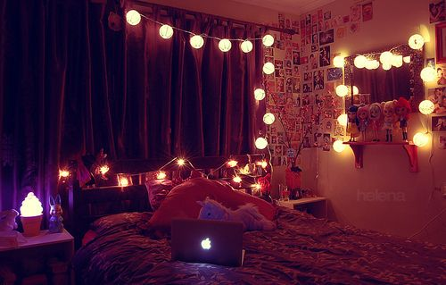 Fairy Lights Bedroom Tumblr In Curtain And Mirror For Interesting ...