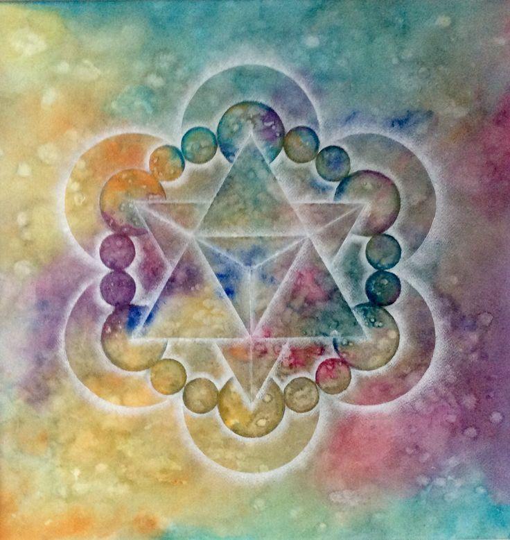 Mandala gemaakt door Els van der Lugt. 29-07-2017 n.a.v. Graancirkel van 18-07-2017 Cley Hill, nr Warminster, Wiltshire. Aquarel met kleurpotlood