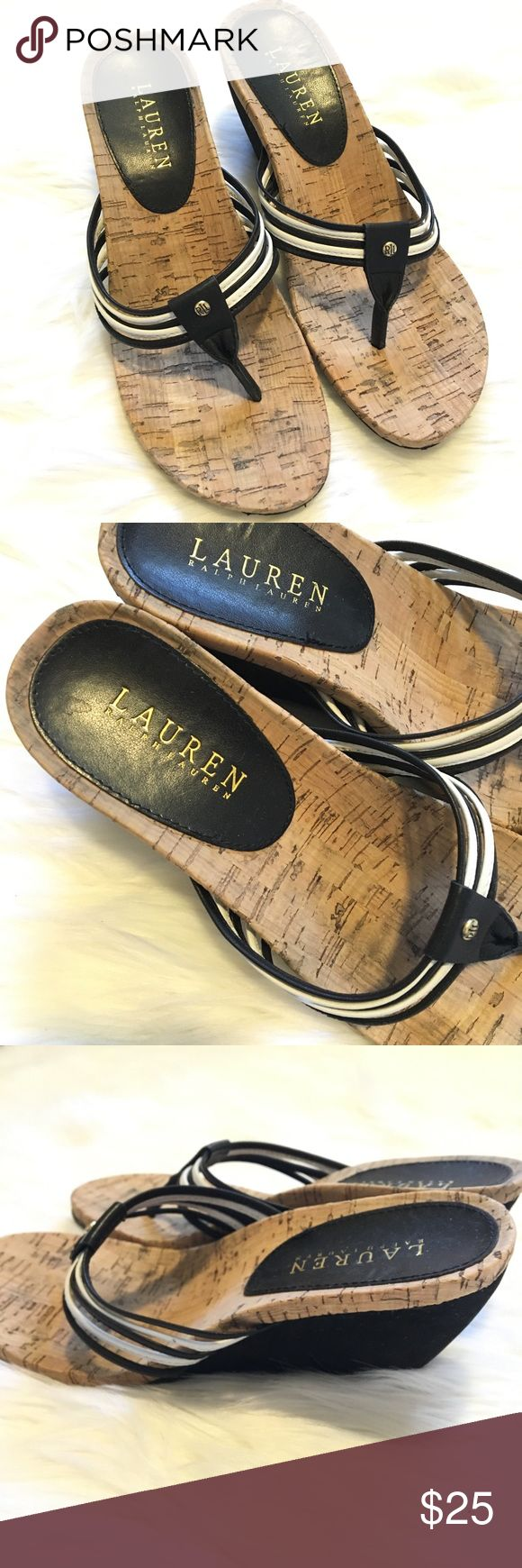 Ralph Lauren black & white cork thong sandals 7.5 Lauren Ralph Lauren cork flip flop slip on sandals. Black and white straps. Size 7.5. Fit true to size. Small dent / scuff on side of right shoe. Hardly noticeable. See last photo. Super comfortable, cushion sole. Great shape. Dress up or down. Goes with work attire or casual weekend attire. Smoke free home. #ralphlauren #black #white #cork #flip #shoes #slipon #woman #casual #sandal ❌no trades❌ Lauren Ralph Lauren Shoes Sandals