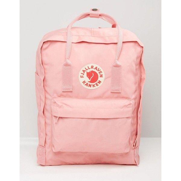 Fjallraven Classic Kanken In Pastel Pink ($87) ❤ liked on Polyvore featuring bags, pink, day pack backpack, knapsack bag, pink rucksack, fjallraven bag and fjallraven backpack