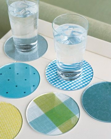 Create custom coasters with all your favorite colors and patterns.  Mix and match.  Great for outdoors.