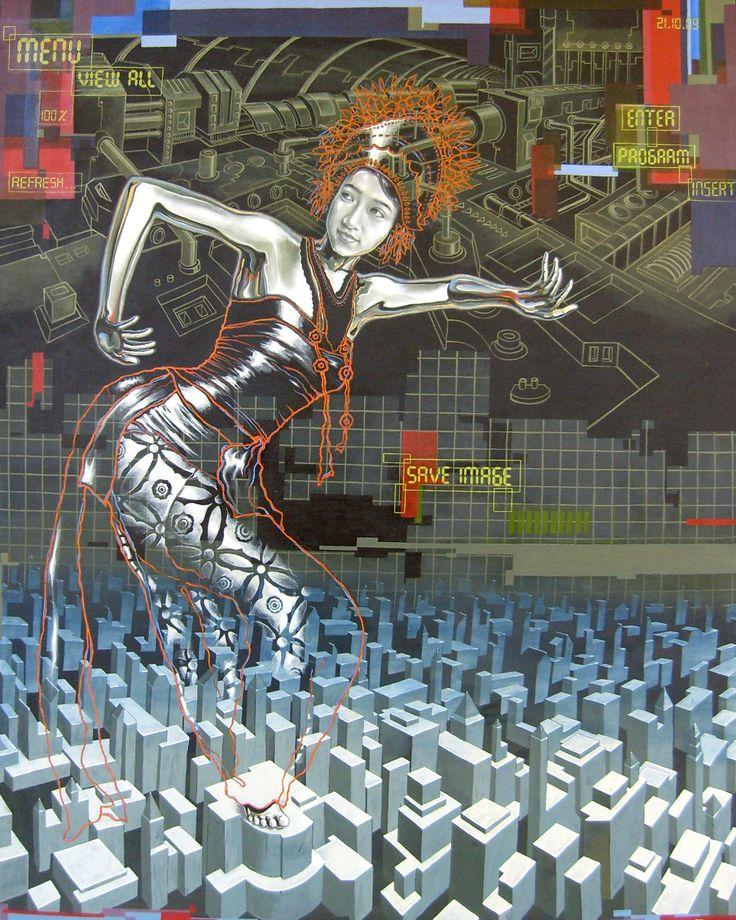 "Tri Wahana, - ""Save Image"", - Acrylic on canvas, - 120 x 150cm, - 2010"