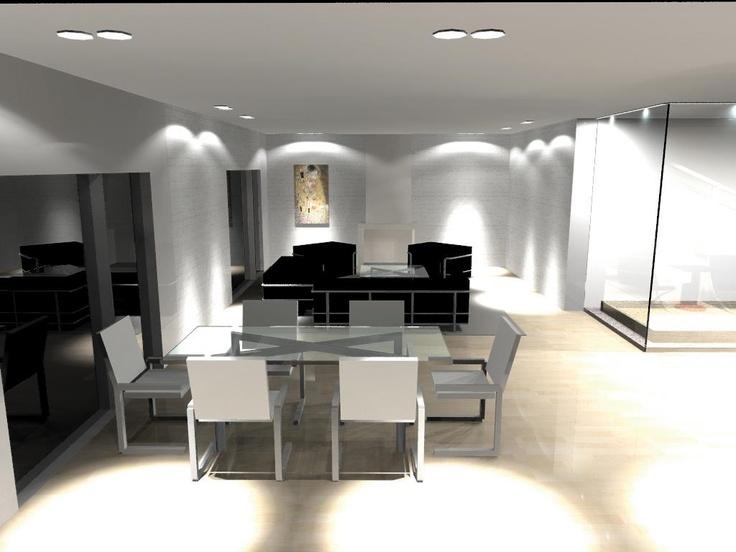 Rendering of a lighting design project. Home. Living room. — en Arkoslight.