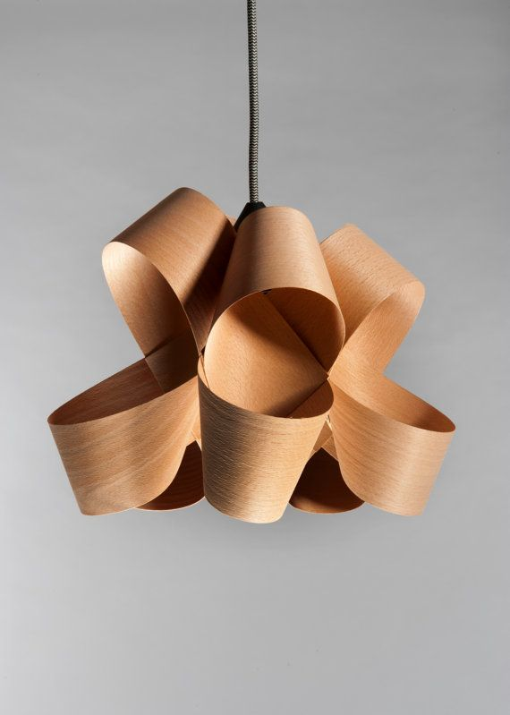 """Pendent lighting , Ceiling mounted handmade maple veneer lamp.        *A member of our """"LIGHTS"""" collection."""