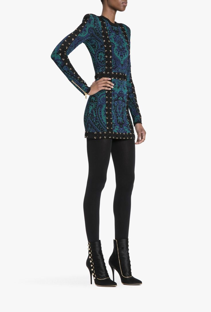 Lace-up knit mini dress | Women's knit dresses | Balmain