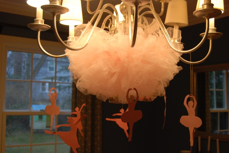 Ballet party. Ballet-themed chandelier decoration.  Tie a tutu to your chandelier with a needle and thread. Then hang cardstock cutouts of ballerina silhouettes